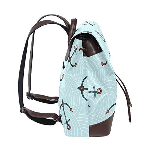 Kvinnor PU-läder mönster med färgade ankare på blå vågor ryggsäck handväska resa skola axelväska ledig dagväska