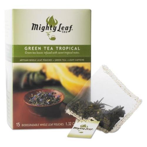 Mighty Leaf Tea Co Whole Leaf Tea Pouches, Green Tea Tropical, 15/Box MYT40002