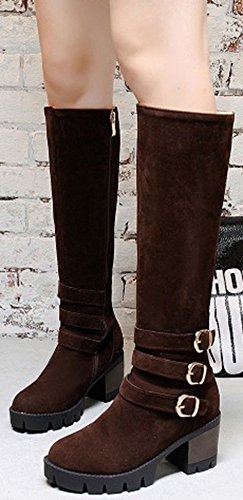 Easemax Women's Fashion Faux Suede Mid Chunky Heeled Round Toe Knee High Boots With Zipper Coffee Cl6q9
