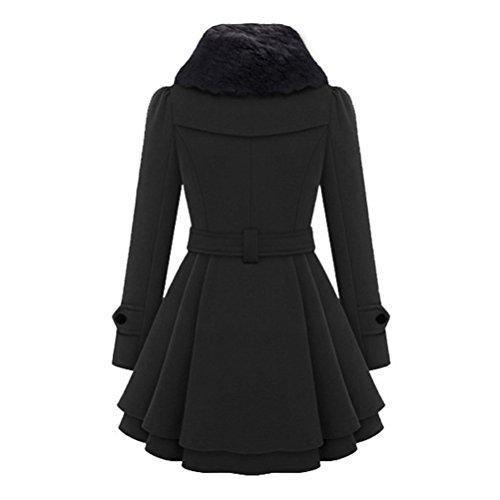 Outwear Herbst-winter-lange Hülsen-mitte-langer Oudan Trenchcoat Frauen-mantel-warmer Schwarz Jacken-mantel