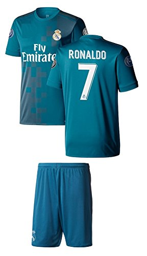 Cristiano Ronaldo Soccer Jersey #7 Blue 3rd Real Madrid Youth Kids with Shorts and Picture Bag Premium Soccer Gift (YL 10-13 Years, Ronaldo ()