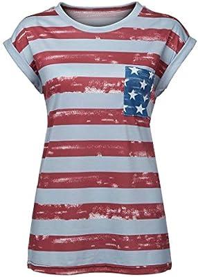 SMILEQ Camisa Casual para Mujer Chaleco de Manga Corta Rayas patrióticas Estrella con Estampado de Bandera Estadounidense Blusa sin Mangas (M, Rojo): Amazon.es: Deportes y aire libre