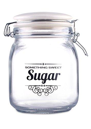 Home Basics Glass Jar with Ceramic Flip Lid Top (Sugar - White)