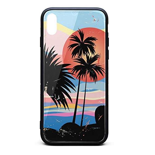 - iPhone X/XS Case Graphics Tropical Landscape with Palm Trees TPU Soft Rubber Case with Hard PC Back Shell Shock Absorption Bumper Cover Snap on