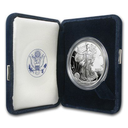 1996 P Proof American Silver Eagle .999 Silver with Velvet Box, Storage Box & COA $1 Proof US - Silver American Eagle 1996 Coin