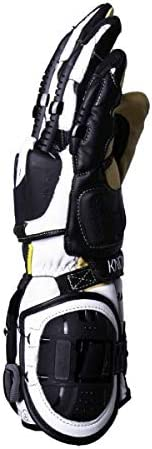 Knox Handroid Leather Summer Motorcycle Gloves Black//White XLarge