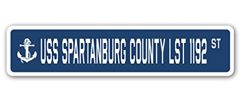 USS Spartanburg County Lst 1192 Street Sign DECAL STICKER US Navy Veteran Military County Street Sign