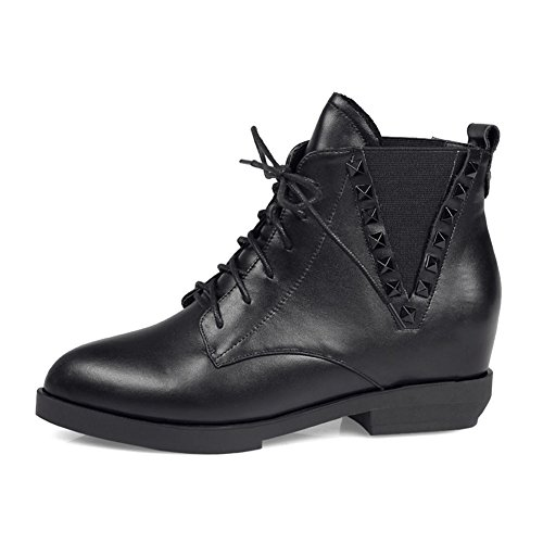 MINIVOG Height Increasing Low Block Heel Studded Lace-up Pull Tab Womens Ankle Boots Black r5Lk95