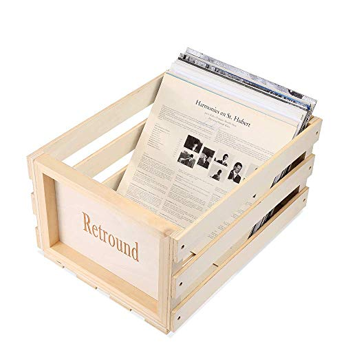 Wood Vinyl Record Storage Crate Retro Disc Box Cube Stackable LP Record Album Shelf, Holds up to 50-70 Albums, (5 Star Service Guaranteed)