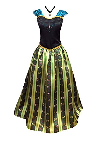 Adult Women Frozen Anna Elsa Coronation Dress Costume + Princess Anna Choker Necklace (Women Size Medium, Olive) -