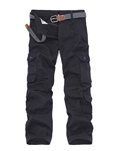 Cheruna Men's Loose Work Mid Rise Outdoor Straight Leg Cargo Pants Black 34