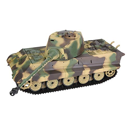 Dilwe Remote Control Tank, Heng Long 3888A-1 2.4GHz 1/16 Scale German King Tiger Henschel RC Model Tank Toy Car