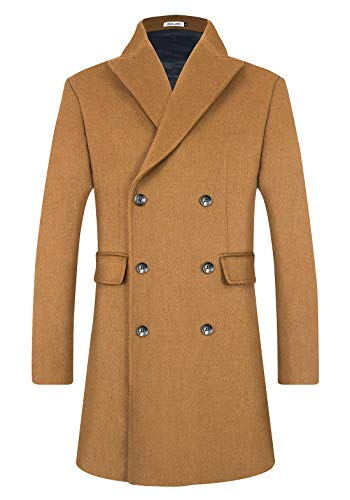 BOJIN Men's Coat Winter Long Warm Slim Fit Wool Blend Trench Coat