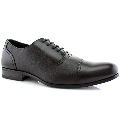 Ferro Aldo Don MFA19339 Men's Casual Cap Toe Oxford Formal Dressing Shoes - Black, Size 6.5
