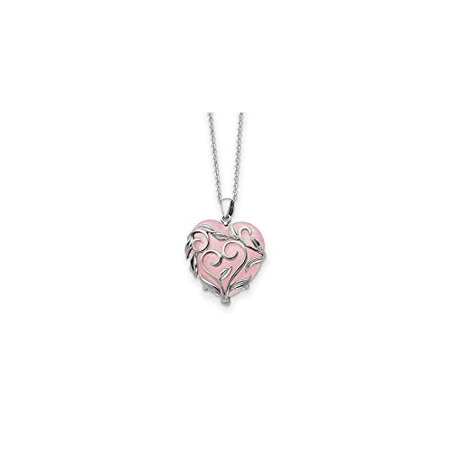 925 Sterling Silver Rose Quartz Generous Heart 18 Inch Chain Necklace Pendant Charm S love Natural Stone Inspirational Fine Jewelry Gifts For Women For Her