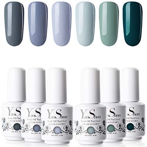 Gel Nail Polish Set - YaoShun Gel Polish Kit Winter Grey and Green Series 6 Colors Gel Polish Nail Art Gift Box, Soak Off Nail Gel Manicure Gel Nail Art Kit