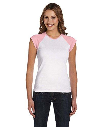 Bella Baby Rib Cap Sleeve Raglan T-Shirt. 2020 - XX-Large - White / Pink