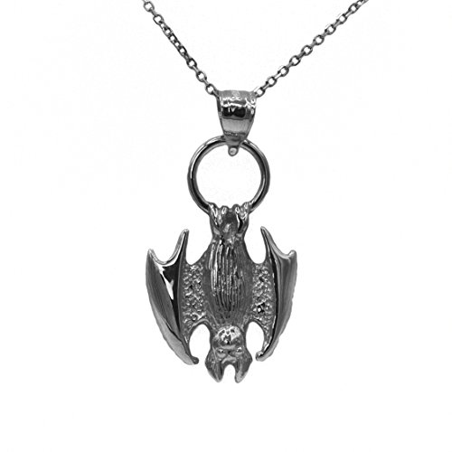 Sterling Silver Two Birds Bat - Ice on Fire Jewelry 925 Sterling Silver Bat Pendant Necklace (18