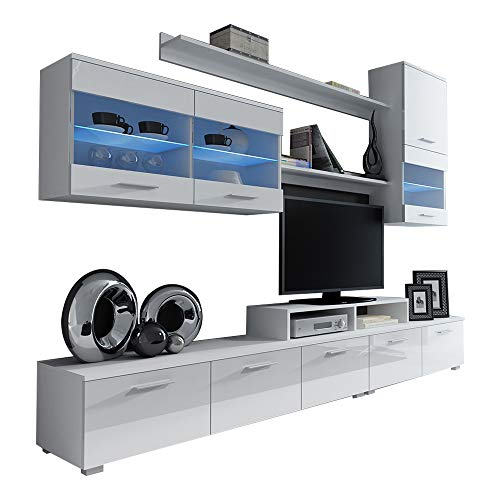 Paris Contemporary Design Wall Unit/Modern Entertainment Center/Unique Modern Design/with LED Lights/High Storage Capacity/Living Room Furniture/Tv Stand (White) ()
