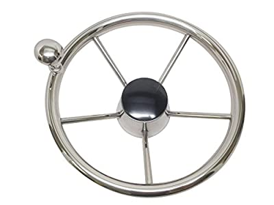 """Pactrade Marine Boat Stainless Steel Steering Wheel with Turning Knob 15 1/2"""" dia"""