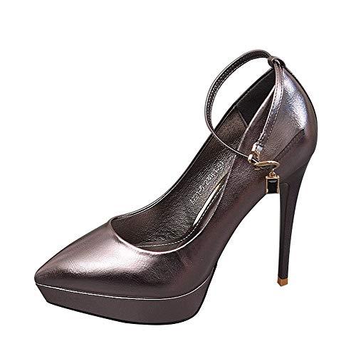 Europea Solo Temperamento del Aguja la del EU de Superficiales Banquete Zapatos UE tacón los Moda Atractiva de Zapatos Los 36 de Partido Calzan 35 Bajos FLYRCX del ZHqOw67Z