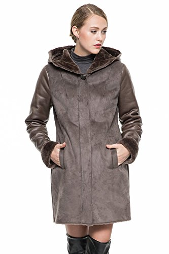 Suede Two Pocket Coat (Clearance! Adelaqueen Women's Brown Middle Length Faux Suede Coat with Fleece Lining & Hood Size XL)