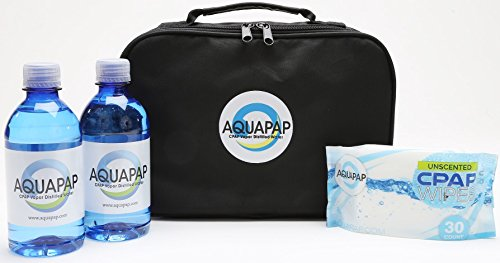 AQUAPAP Weekender Refillable Travel Bag Set-Includes 2 Bottles CPAP Waters and CPAP Wipes Carrying Case