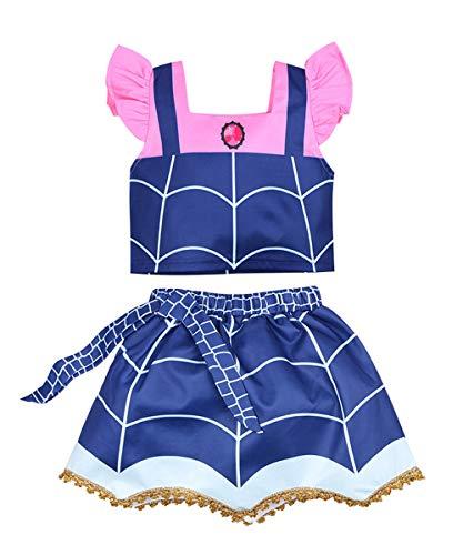 WuFun Girls Vampirina Costume Outfit Halloween Dress Up (twopiece Blue, 4-5Y) -