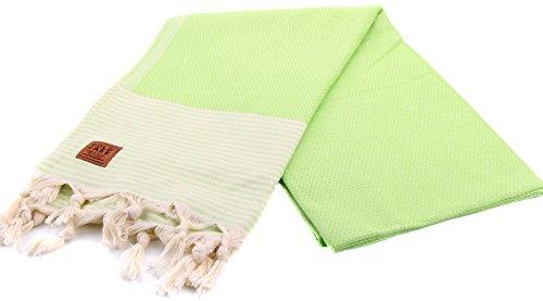 Gold Case EPHESOS 100% Cotton pestemal - Bath & Beach Multi-Purpose Turkish Towel/Throw - 39x70(100x180cm) Peshtemal, Bright Green