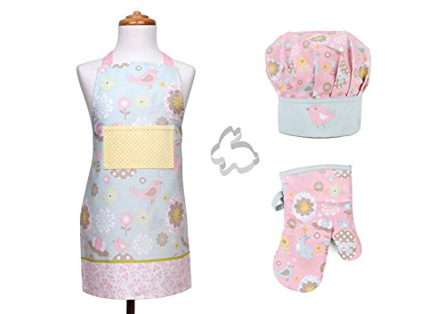 Chef Set for Kids - Adjustable Apron, Chef Hat, Oven Mitt, Cookie Cutter - Pink Daisy
