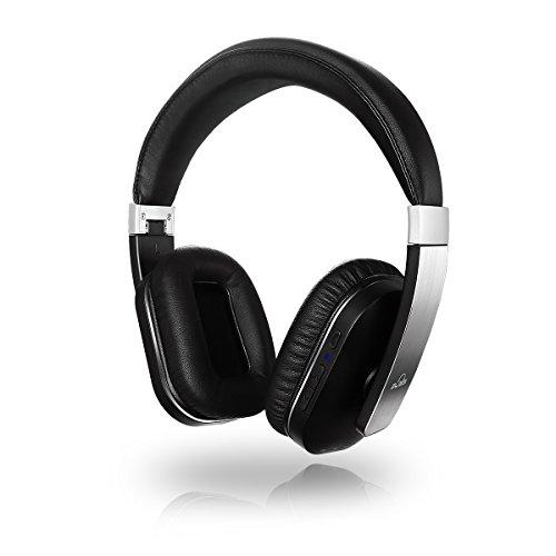 iDeaUSA® S204 Bluetooth Over-Ear Wireless Kopfhörer Stereo Headset mit integriertem Mikrofon und Lederohrpolster für Handys, Tablets, Smartphones etc. Schwarz + Silber