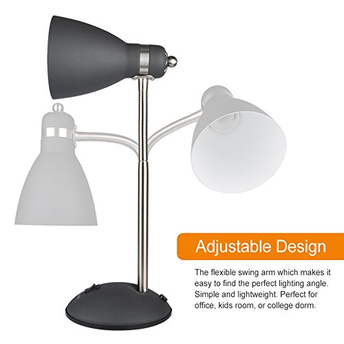 LEPOWER Metal Desk Lamp, Flexible Goose Neck Table Lamp, Eye-Caring Study Lamps for Bedroom and Office (Black) by LEPOWER (Image #2)