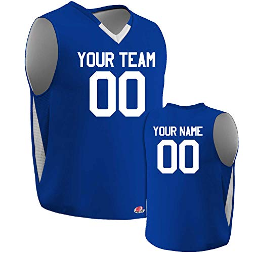 Custom Reversible Basketball Jersey mesh Sides Royal and White Youth Large