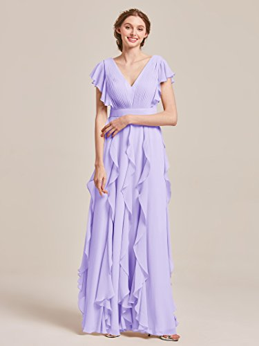 Party Wedding for Dress Long V Dress Chiffon Bridesmaid Neck Evening Dresses Prom Lilac Women's AWEI Z4wxq7zORW