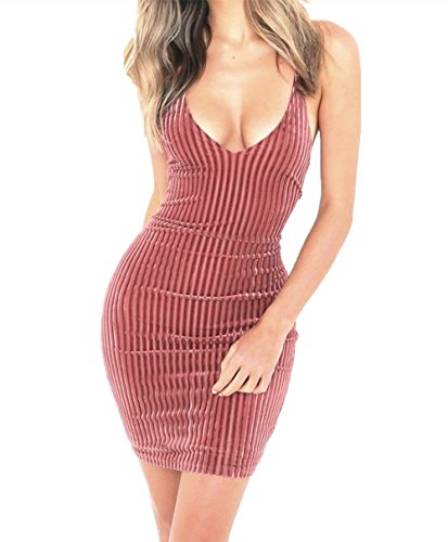 Women's Bodycon Dresses Backless Sleeveless Lace Up Ribbed Velvet Sexy Cocktail Party Club
