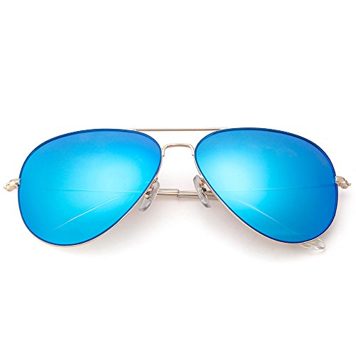 MT MIT Classic Aviator Polarized Mirrored Lens Sunglasses for Men Women 100% UV Protection(Blue) (62 Sunglasses Aviator Mm For Men)