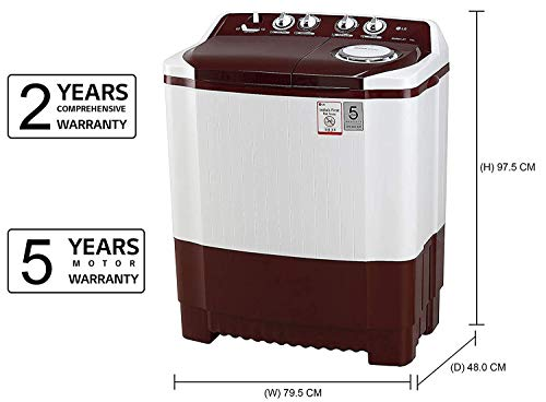 LG 7 kg Semi-Automatic Top Loading Washing Machine (P7010RRAA, Burgundy) 2021 June Semi-automatic washing Machine: Economical, Low water and energy consumption, involves manual effort; Has both washing and drying functions Capacity 7.0 kg (wash): Suitable for large families Manufacturer Warranty: 2 Years Comprehensive