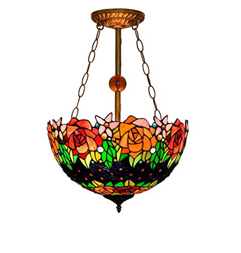 Tiffany Style Pendent Lamps, American Antique Rose/Stained Glass Anti-Chandelier, Creative Pendent Lamp for Dining Room Parlour Bar, BOSS LV
