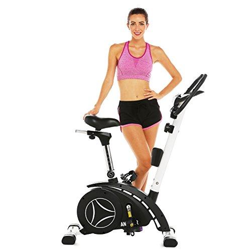 ANCHEER Upright Bike, Magnetic Exercise Bike (Black)