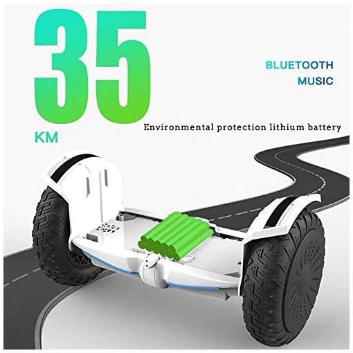 FLY Hoverboard Auto-Équilibrage Électrique Skateboard 10 Pouces Overboard avec Bluetooth-Musique/LED-Roue Clignotante, pour Enfants Et Adultes+ Accoudoir De Sécurité À Longueur Réglable,Blanc