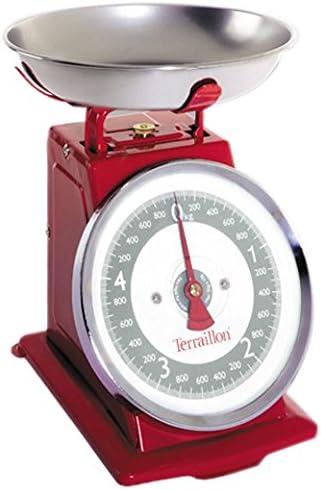 rote kuechenwaage analog mit grossem ziffernblatt