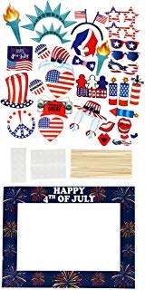 Party Photo Booth Props - 33-Pack Patriotic Party Supplies, Selfie Props and Picture Frame, American Flag Party Favors for 4th of July Parties, Patriotic Events]()