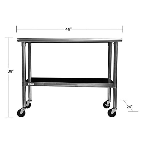 Prep Table,Kitchen Workstation,With Wheels, Stainless Steel,48''Silver