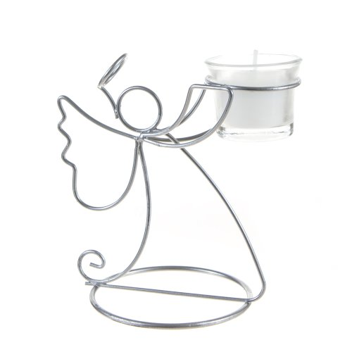 Silver Angel Metal Candle Holder