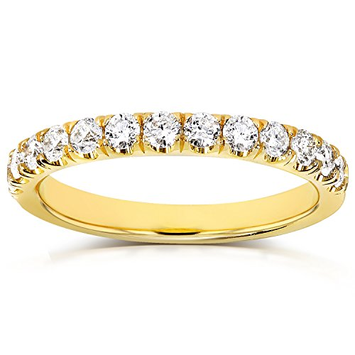 Diamond Comfort Fit Flame French Pave Band 1/2 carat (ctw) in 18k Yellow Gold