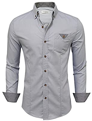 Tom's Ware Mens Inner Plaid Oxford Cotton Button Down Dress Shirts