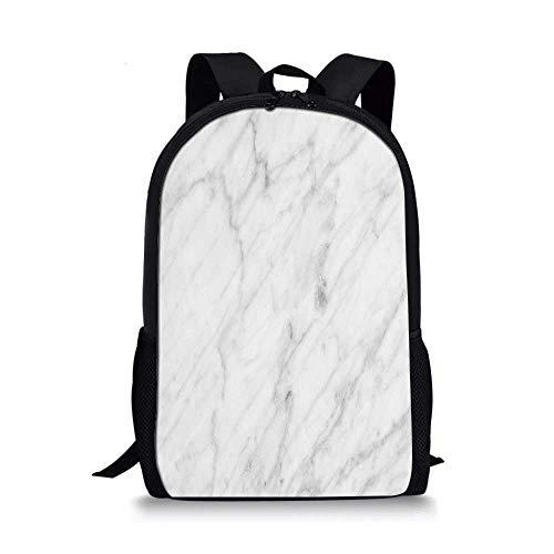 11' Sculpture - Marble Stylish School Bag,Carrara Marble Tile Surface Organic Sculpture Style Granite Model Modern Design for Boys,11''L x 5''W x 17''H