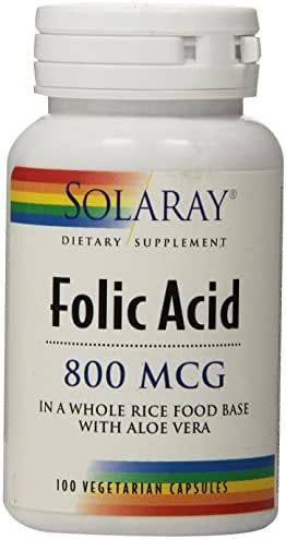 Solaray Folic Acid Capsules, 800mcg, 100 Count