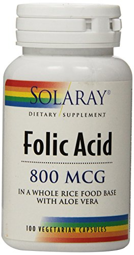 Solaray Folic Acid Capsules, 800mcg, 100 Count For Sale