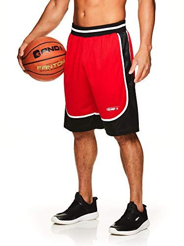 AND1 Men's Basketball Gym & Running Shorts w/Elastic Drawstring Waistband & Pockets - True Red Velvet, Large